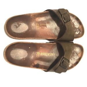 Birkenstock Madrid  bronze cork slides sandals